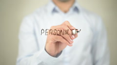 Personality   ,  man writing on transparent wall Stock Footage