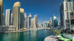 View of Dubai Marina Towers and canal in Dubai timelapse hyperlapse Stock Footage