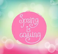 Handwriting inscription Spring is coming - stock illustration