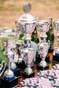 Champion Trophies. Winners Cups. Trophy - stock photo
