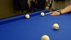 Playing Eight-ball pool billiards Stock Footage