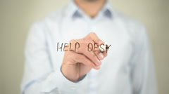 Help Desk   ,  man writing on transparent wall Stock Footage