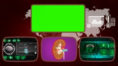 Kidney - Medical Monitor - Advanced Research - World - green 02 Stock Footage
