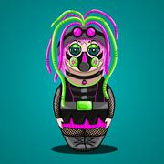 Russian doll a cyber goth - stock illustration