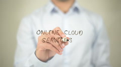 Online Cloud Services , writing on transparent wall Stock Footage