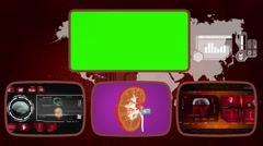 Kidney - Medical Monitor - Advanced Research - World - red 02 Stock Footage