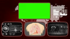 Lungs - Medical Monitor - Advanced Research - World - grey 03 - stock footage