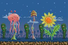 seamless game landscape fantastic forest - stock illustration