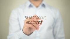 Smartphone Addiction  , writing on transparent wall - stock footage