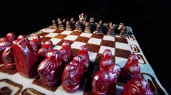 Spinning Mongolian Chess Board With Colored Iron Figures Stock Footage