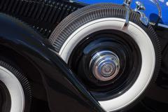 Vintage car spare tire Stock Photos
