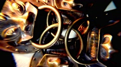 Group of Mongolian Iron Masks Spinning in a Circle Top View Close-Up Stock Footage