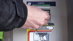 Male Hand Using ATM Card In Cash Machine, France Stock Footage
