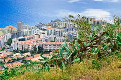 Funchal from lookout on Pico da Cruz, Madeira - stock photo