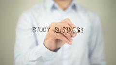 Study Business , writing on transparent wall Stock Footage