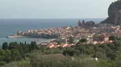 View across the small Sicilian town of Cefalu Stock Footage