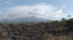 View of Mount Etna with scrubland and volcanic rocks Stock Footage