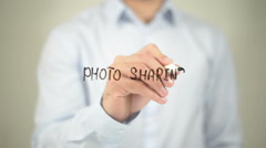 Photo Sharing  , writing on transparent wall Stock Footage