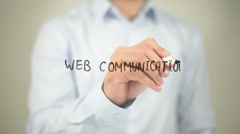 Web Communication , writing on transparent wall Stock Footage