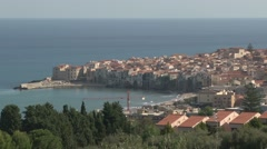 Pan across the small Sicilian town of Cefalu Stock Footage