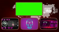 Skull - Medical Monitor - Advanced Research - World - purple 02 Stock Footage
