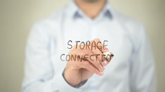 Storage Connection , writing on transparent wall Stock Footage