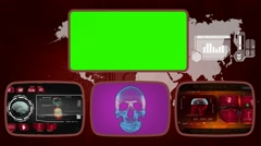 Skull - Medical Monitor - Advanced Research - World - red 02 Stock Footage