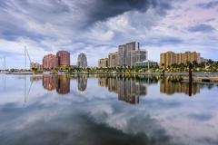 West Palm Beach, Florida, USA intracoastal waterway skyline. - stock photo