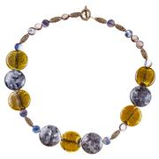Necklace from labradorite gems and colored glass Stock Photos