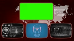 Skull - Medical Monitor - Advanced Research - World - grey 01 Stock Footage