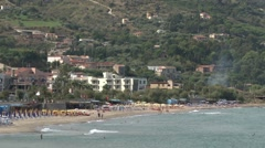View of the beach at Cefalu near Palermo Stock Footage