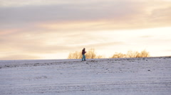 Cross-country skiing on field Stock Footage