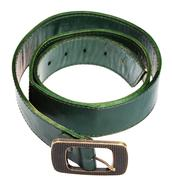 Wide green belt with brass buckle isolated Stock Photos