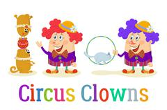 Circus Clowns with Trained Animals - stock illustration