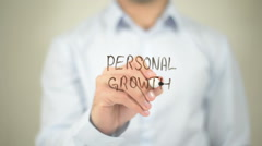 Personal Growth  , writing on transparent wall Stock Footage