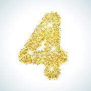 Four number in golden style. illustration gold design Stock Illustration