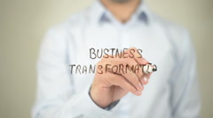 Business Transformation , writing on transparent wall - stock footage