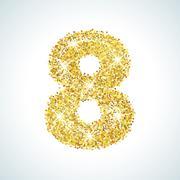 Eight number in golden style. illustration gold design - stock illustration