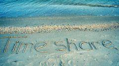 The inscription time share on sand, the beach. Stock Footage