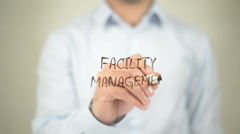 Facility Management  , writing on transparent wall Stock Footage