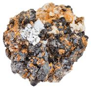 Galena and Sphalerite on dolomite rock isolated Stock Photos