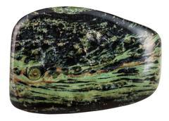Tumbled madagascar green rhyolite gemstone Stock Photos