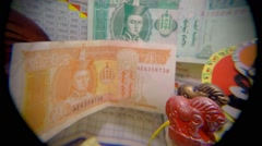 Wooden Objects With Carved Horse Head and Mongolian Money Wall Panorama From Stock Footage