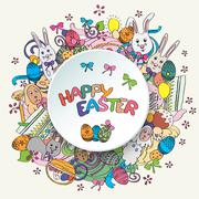 Colorful happy easter greeting card in Stock Illustration