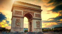 Beautiful sunset over Arc de Triomphe. Paris, France. Timelapse Stock Footage