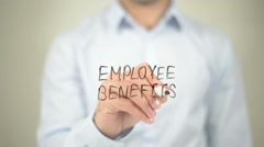 Employee Benefits  , writing on transparent wall Stock Footage
