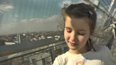 Observation Deck. Girl Walking on Viewing Platform Stock Footage