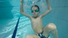 Underwater little kid - stock footage