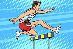 Man running hurdles athletics Piirros