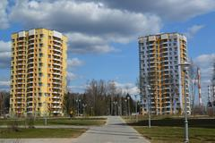 Moscow, Russia-April 24.2016. Zelenograd - the sleeping area of  city - stock photo